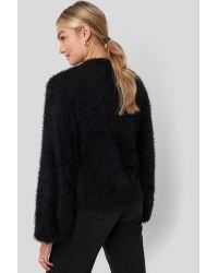 NA-KD Black Hairy Deep V-neck Sweater
