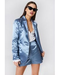 NA-KD Blue Party Shiny Satin Blazer