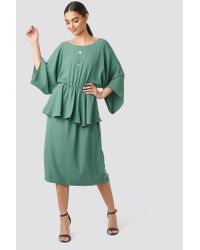 NA-KD Green Party Deep Back Frill Midi Dress