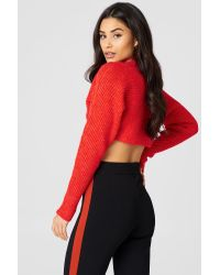 NA-KD Red Cropped Batwing Sweater
