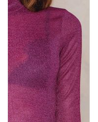 NA-KD - Pink High Neck Glittery Top - Lyst