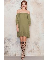 NA-KD Green Off Shoulder Embroidery Tunic