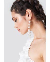 NA-KD Metallic Hanging Multi Pearl Earrings