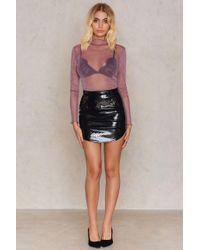 Rare London - Black High Shine Mini Skirt - Lyst