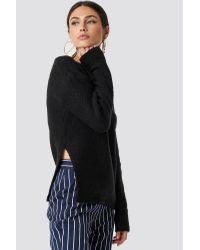 NA-KD Side Slit Knitwear in het Black