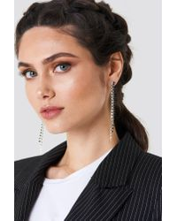 NA-KD - Two Color Hanging Rhinestone Earrings Silver/black - Lyst