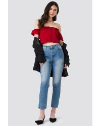 NA-KD Ruffle Detail Off Shoulder Crop Top Red