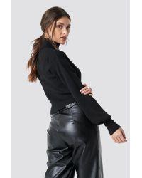 NA-KD Black Balloon Sleeve High Neck Short Sweater
