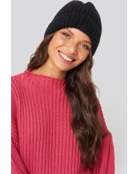 NA-KD Black Accessories Soft Knitted Hat