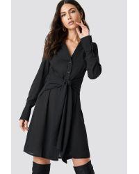 NA-KD Black Tied Waist Dress