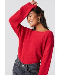 NA-KD Cropped Long Sleeve Knitted Sweater in het Red