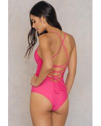NA-KD Pink Swimwear Lacing Back Swimsuit