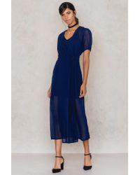 NA-KD - Blue Wrapped Chiffon Dress - Lyst