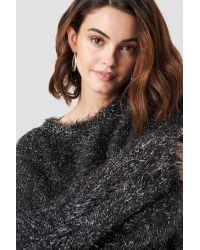 NA-KD Glittery Balloon Sleeve Sweater in het Metallic