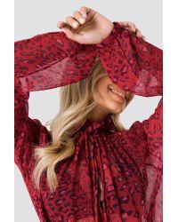 NA-KD Red Boho High Frill Neck Dress