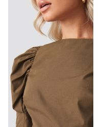 NA-KD Brown Trend Fitted Puff Sleeve Top
