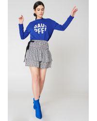 Baum und Pferdgarten Woman Shirred Tiered Gingham Twill Mini Skirt Black