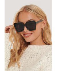 NA-KD Black Accessories Oversize Retro-Sonnenbrille Mit Eckiger Fassung