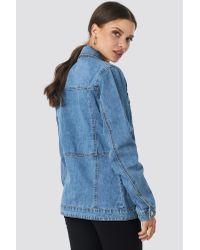 NA-KD Blue Marked Waist Denim Jacket