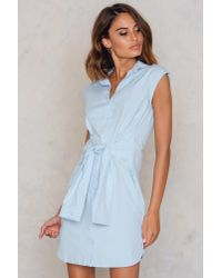 Trendyol Blue Knot Front Shirt Dress