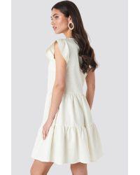 NA-KD White Boho Linen Look Frill Dress