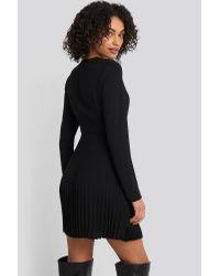 NA-KD Black Trend Overlapped Pleat Detailed Mini Dress