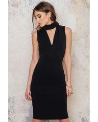 Goddiva - Black V Cutout High Neck Midi Dress - Lyst