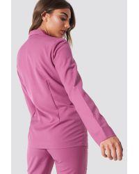 NA-KD Pink Classic Open Sleeve Overlap Blazer