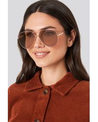 NA-KD Oversize Wire Frame Sunglasses in het Brown