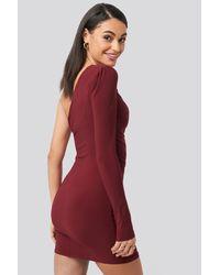 Trendyol Red Drape Detailed One Sleeve Mini Dress