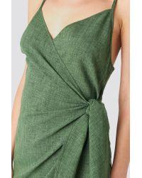 NA-KD Green Strap Overlap Mini Dress