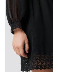 NA-KD Black Boho Lace Detail High Neck Dress