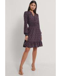 NA-KD Purple Boho Kleid Mit Kittelausschnitt