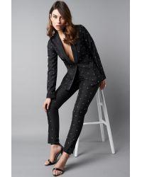 NA-KD Black Party Embellished Suit Pants