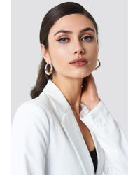 NA-KD - Metallic Small Thick Oval Hoops Silver - Lyst
