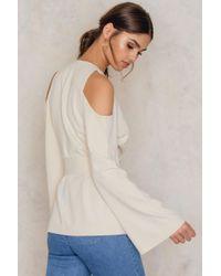 Lavish Alice - Natural Cold Shoulder Tie Belt Jacket - Lyst