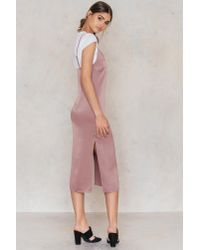 NA-KD Midi Slip Dress Dusty Dark Pink