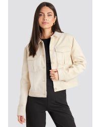 NA-KD White Classic Big Pocket Short Jacket
