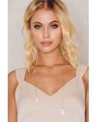 NA-KD - Metallic Double Hanging Crystal Necklace - Lyst