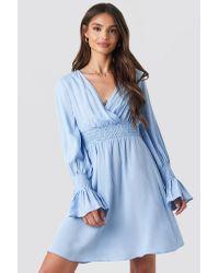 Trendyol Elastic Waist Ls Dress in het Blue
