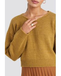 Cropped Round Neck Knitted Sweater NA-KD en coloris Yellow
