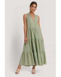 NA-KD Green Midi-Kleid Mit Hohem Rüschenhals
