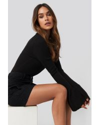 NA-KD Black Queen of Jetlags x Flared Cuff Ribbed Top
