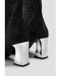 NA-KD Black Shoes Metallic Heel Glitter Sock Boots