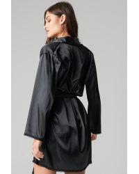 NA-KD Black Lingerie Belted Satin Robe