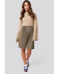 NA-KD Natural Short Pleated Skirt Green