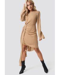 NA-KD Natural Party Draping Detail Asymmetric Dress