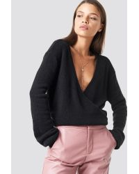 NA-KD Black Trend Overlap Knitted Sweater