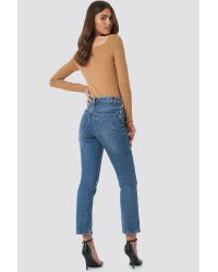 Front Slit Jeans NA-KD en coloris Blue