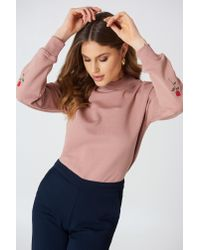 NA-KD - Pink Rose Elbow Embroidery Sweater - Lyst